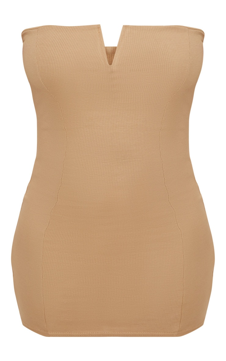 Plus Second Skin Camel Ribbed Panelled V Bar Bandeau Bodycon Dress 3