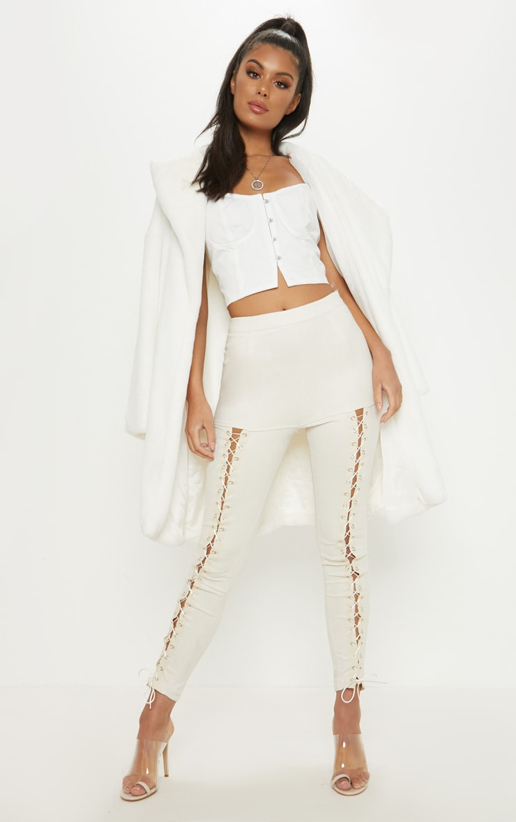 Cream Faux Suede Front Lace Up Skinny Pants