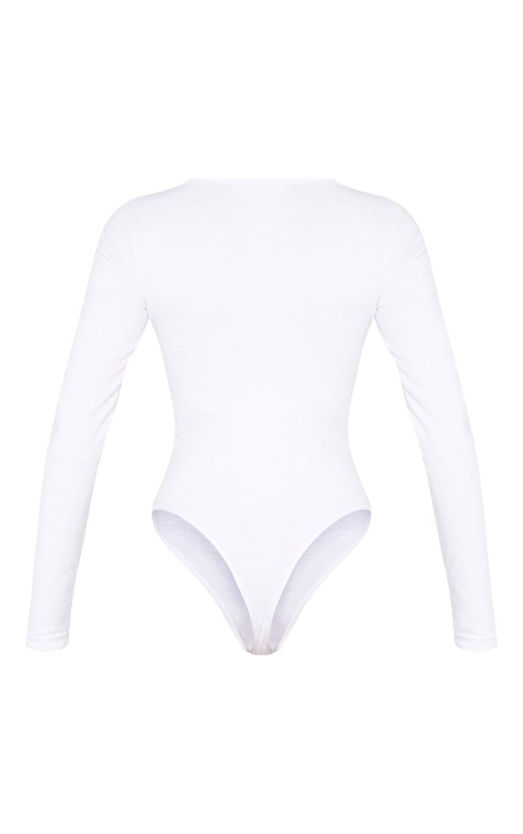 White Cotton Popper Scoop Neck Bodysuit 6