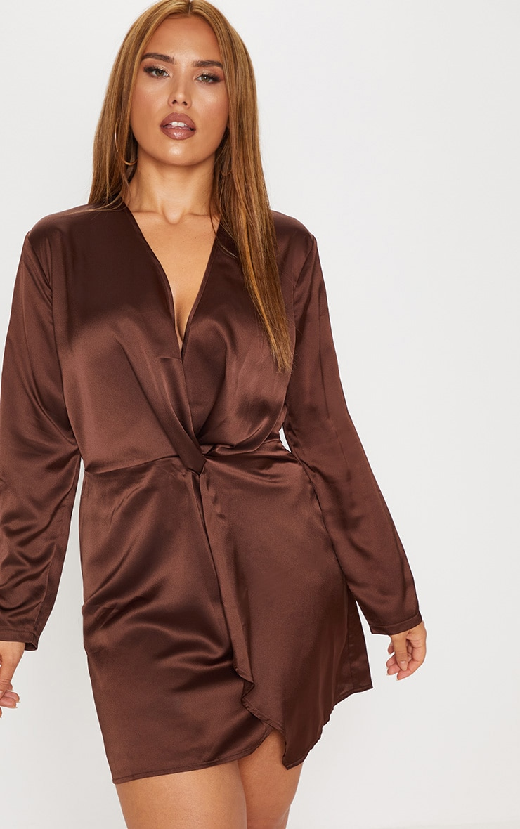 Plus Chocolate Brown Satin Long Sleeve Wrap Dress 1