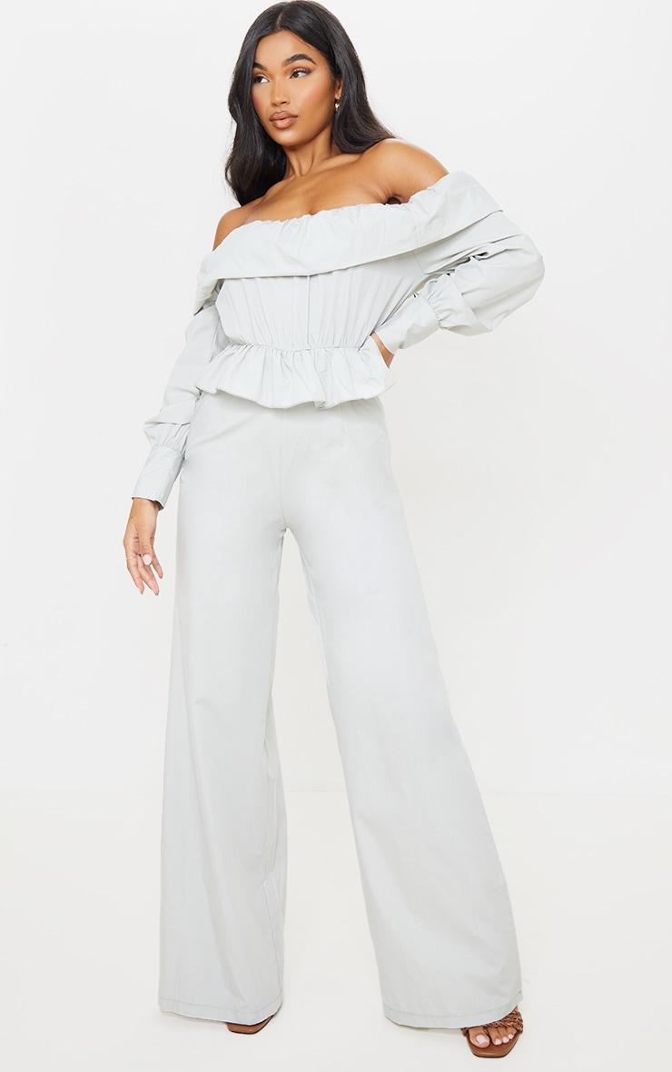 Grey Woven Ruched Bardot Wide Leg Jumpsuit 1