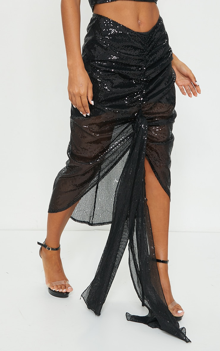 Black Sequin Woven Ruched Side Panel Midi Skirt 2
