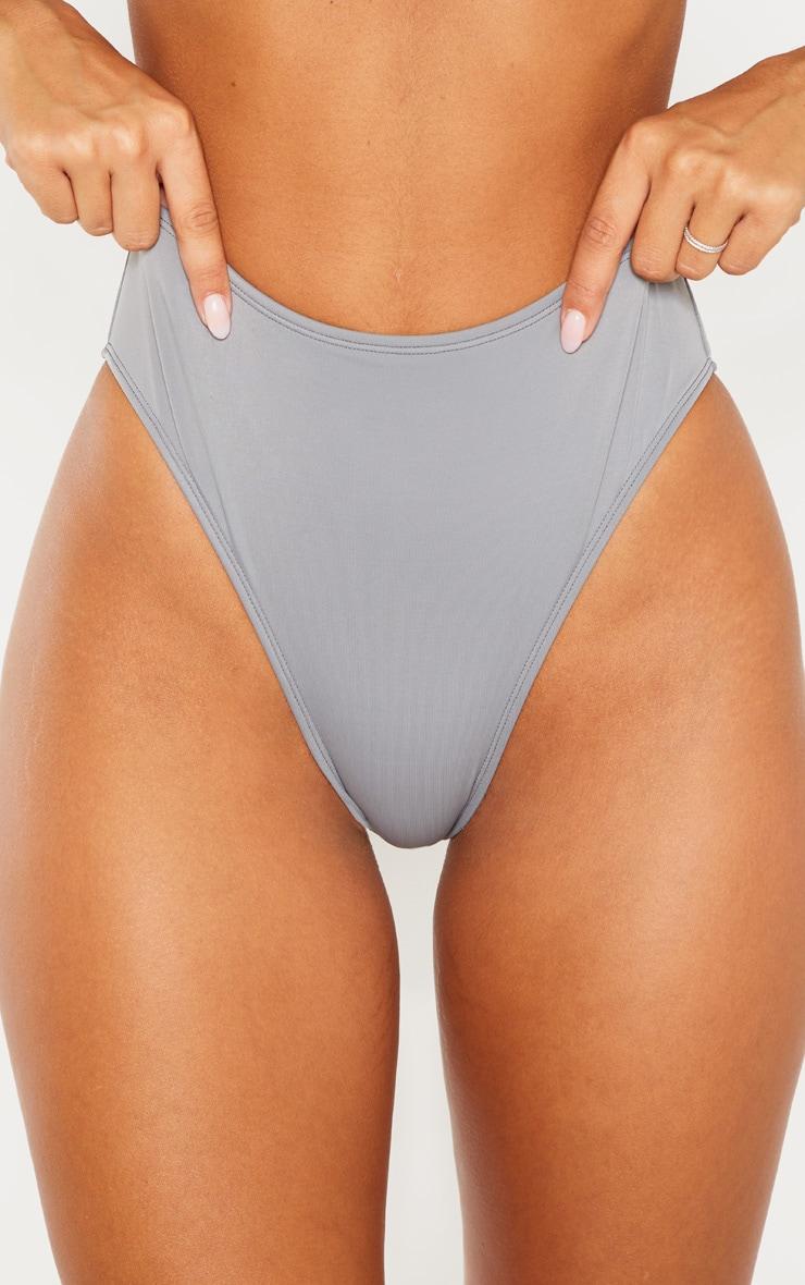 Charcoal High Waisted Cheeky Bum BikiniBottom 7