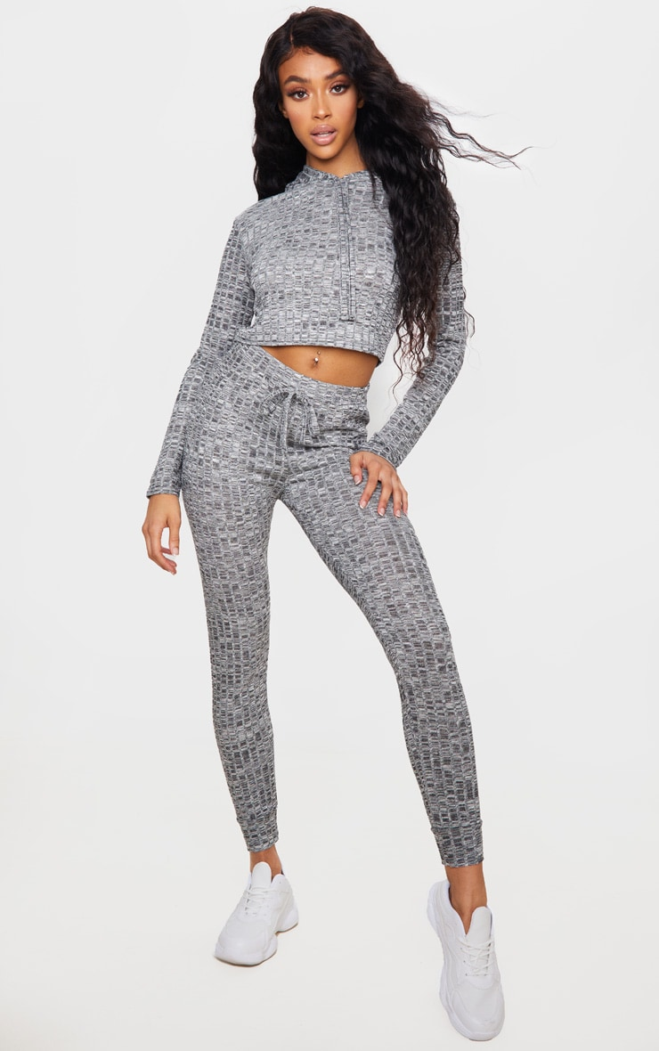 Grey Hooded Knitted Joggers Set 3