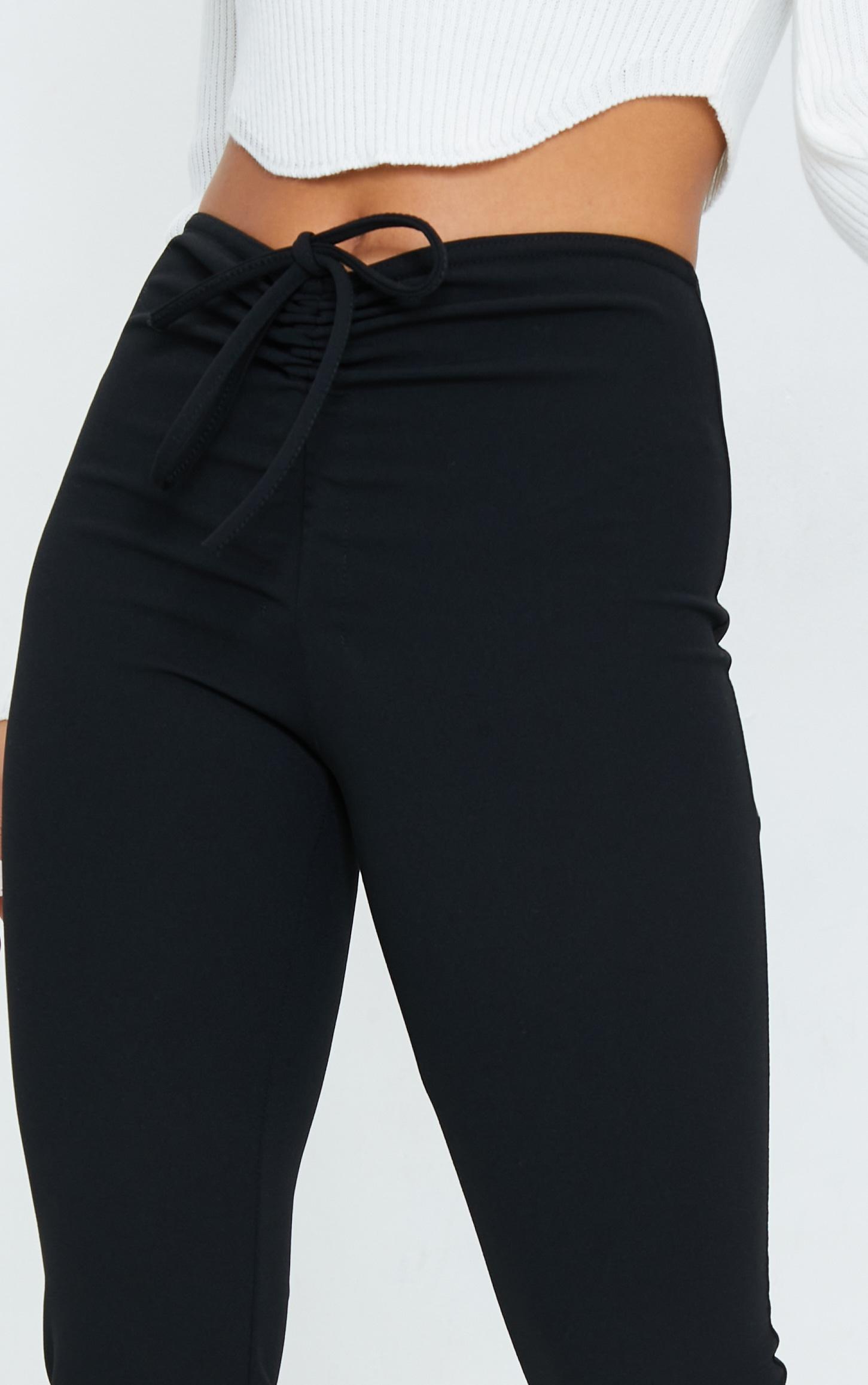 Petite Black Crepe Ruched Waist Line Split Hem Pants 4