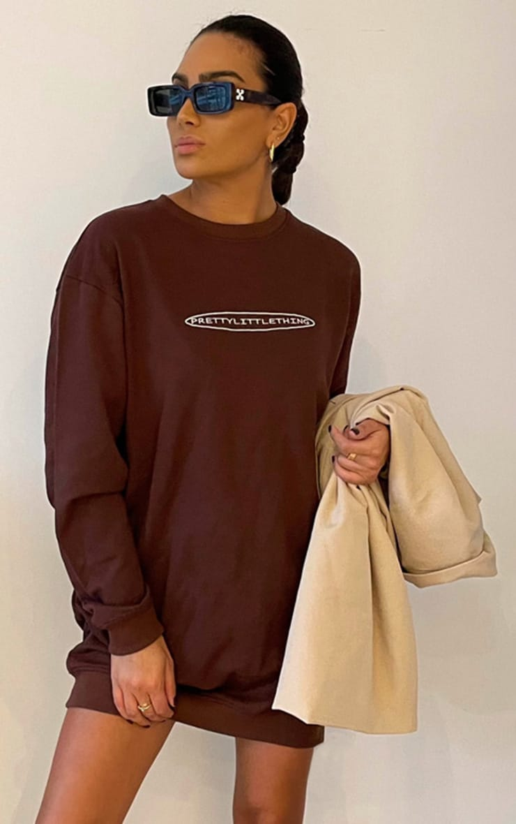 PRETTYLITTLETHING Chocolate Embroided Crew Neck Oversized Sweater Dress 3