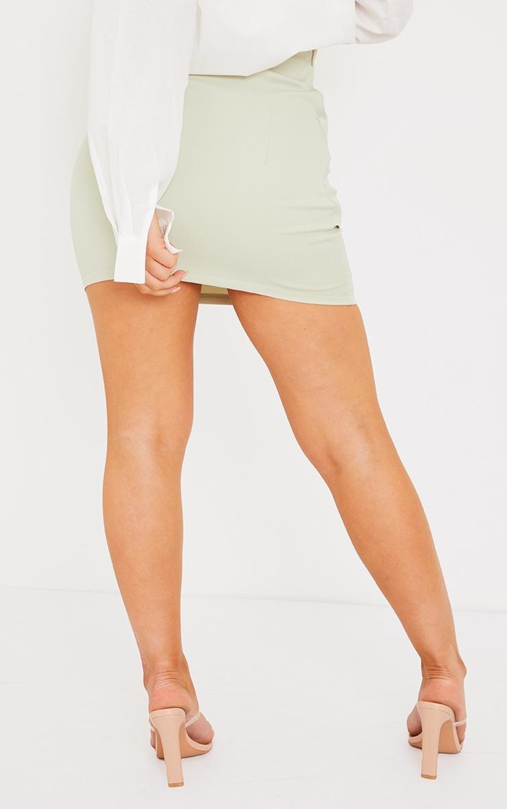 Sage Green Woven Ring Detail Mini Skirt 3