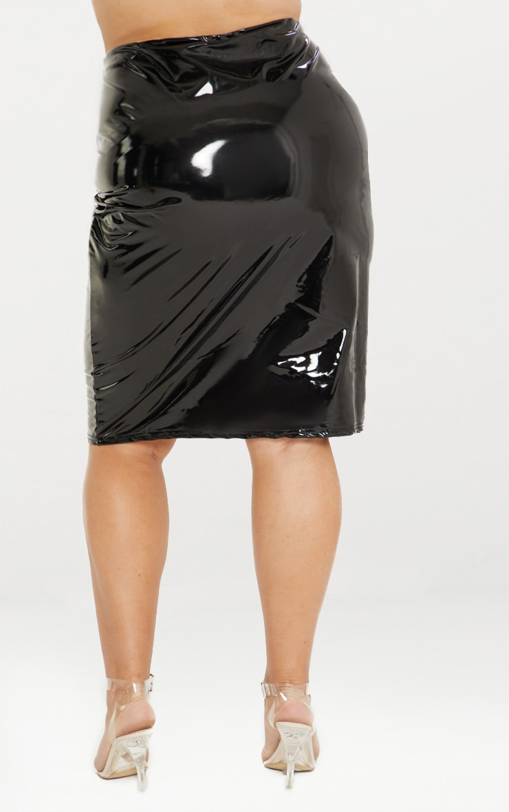 Plus Black PU Midi Skirt 4