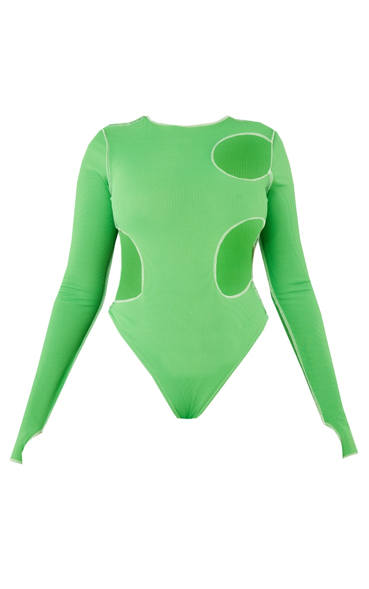 Green Ribbed Contrast Stitch Cut Out Long Sleeve Bodysuit 5