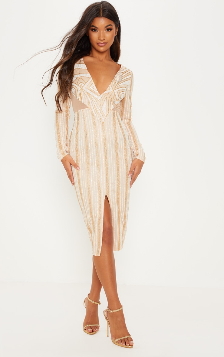 Gold Glitter Plunge Mesh Insert Midi Dress 1