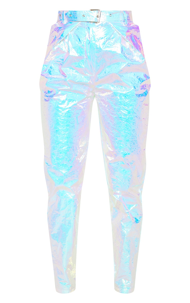 Silver Holographic Belted Cigarette Pants  3