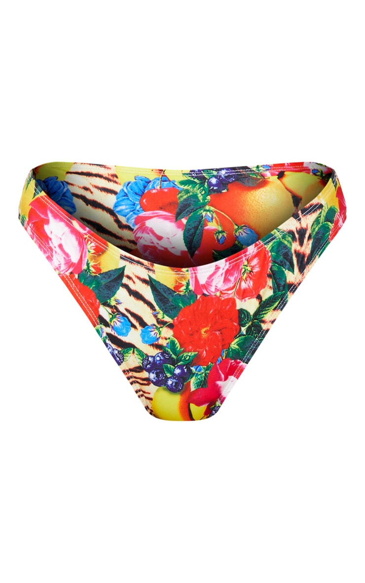 Wild Fruit Print High Waisted High Leg Bikini Bottom 3