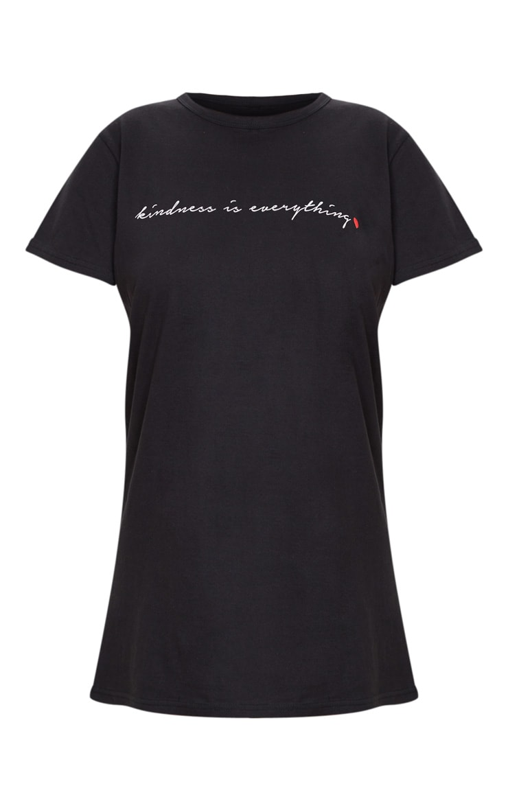 Black Kindness Is Everything Slogan T Shirt Dress 5