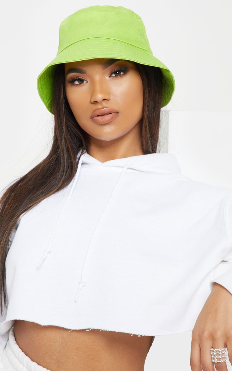 Neon Lime Plain Bucket Hat 1