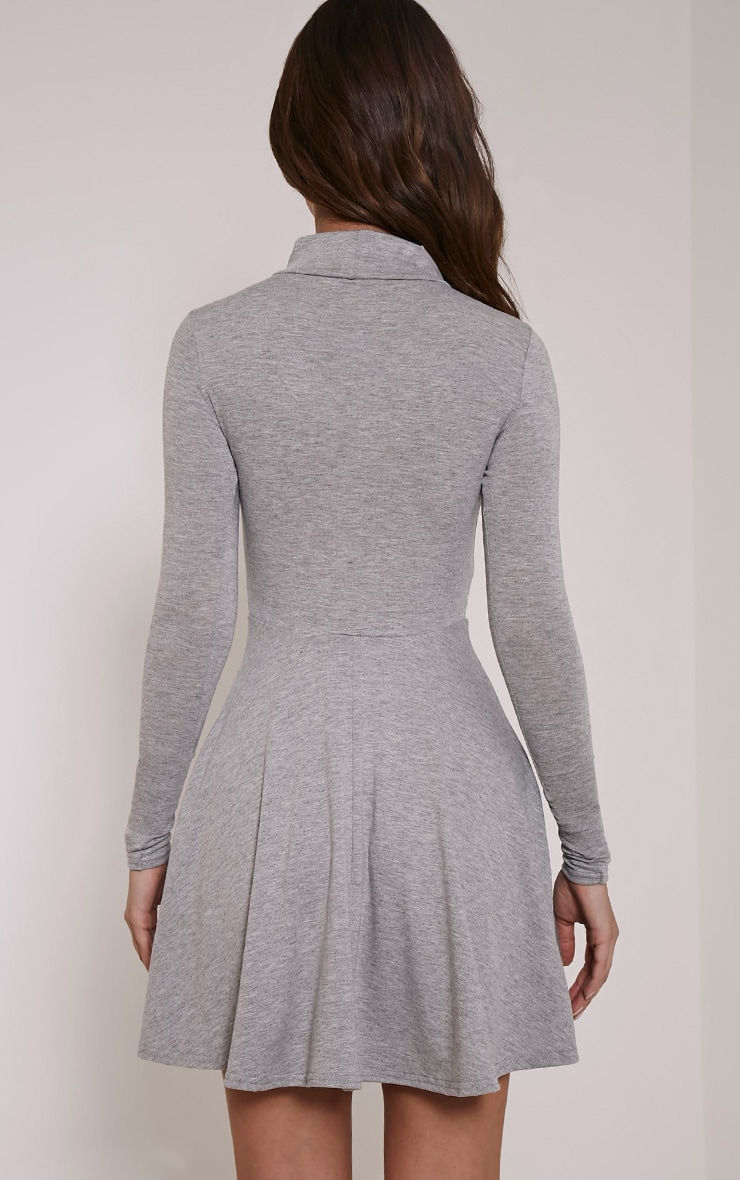 Basic Grey Marl High Neck Skater Dress 2