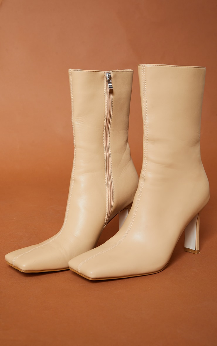 Beige Pu Square Toe Flat Heel Ankle Boots 3