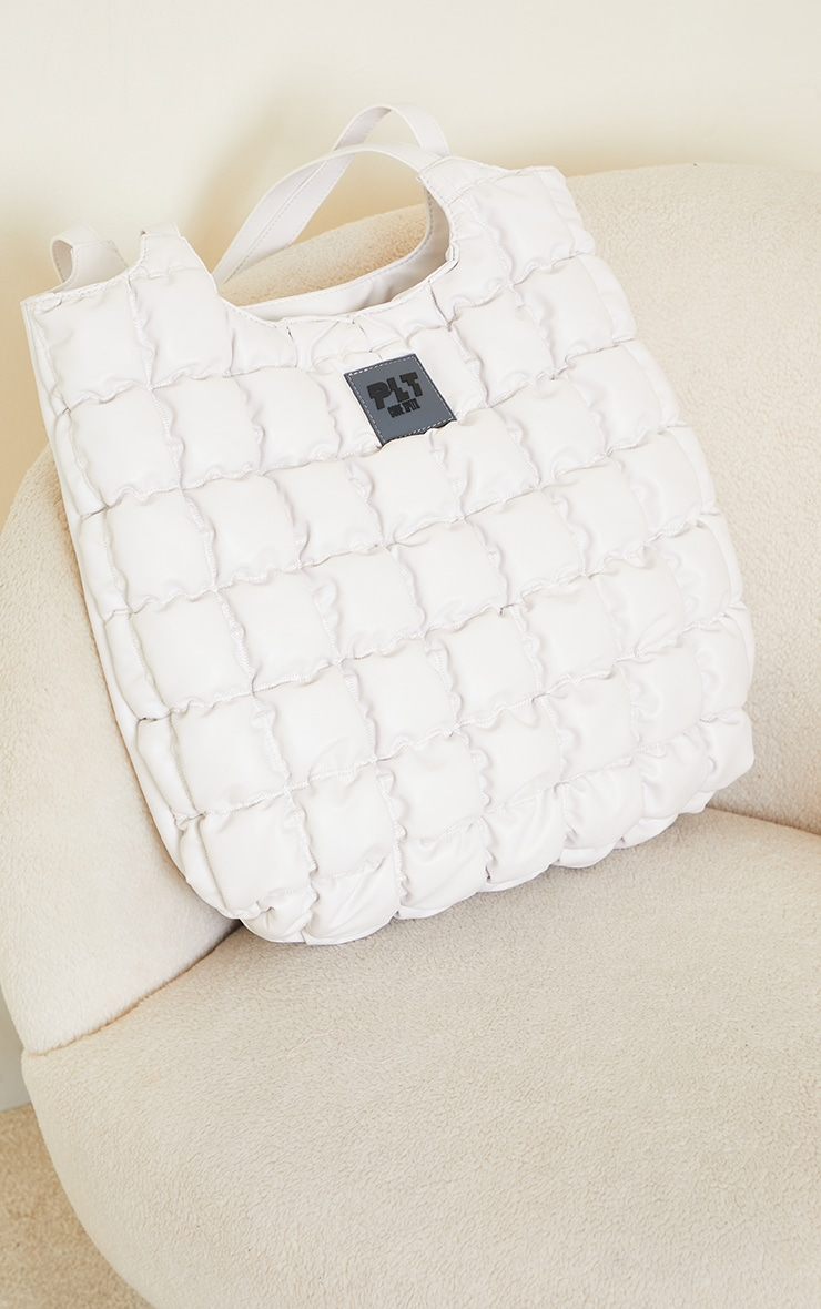 PRETTYLITTLETHING White Padded Tote Bag 4