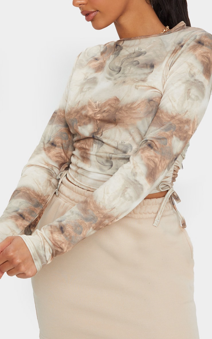 Beige Jersey Tie Ruched Side Long Sleeve Crop Top 4