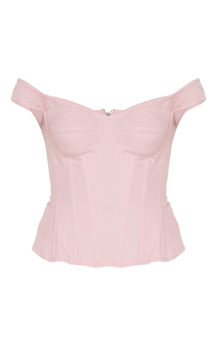 Dusty Rose Woven Frill Shoulder Corset Top 5