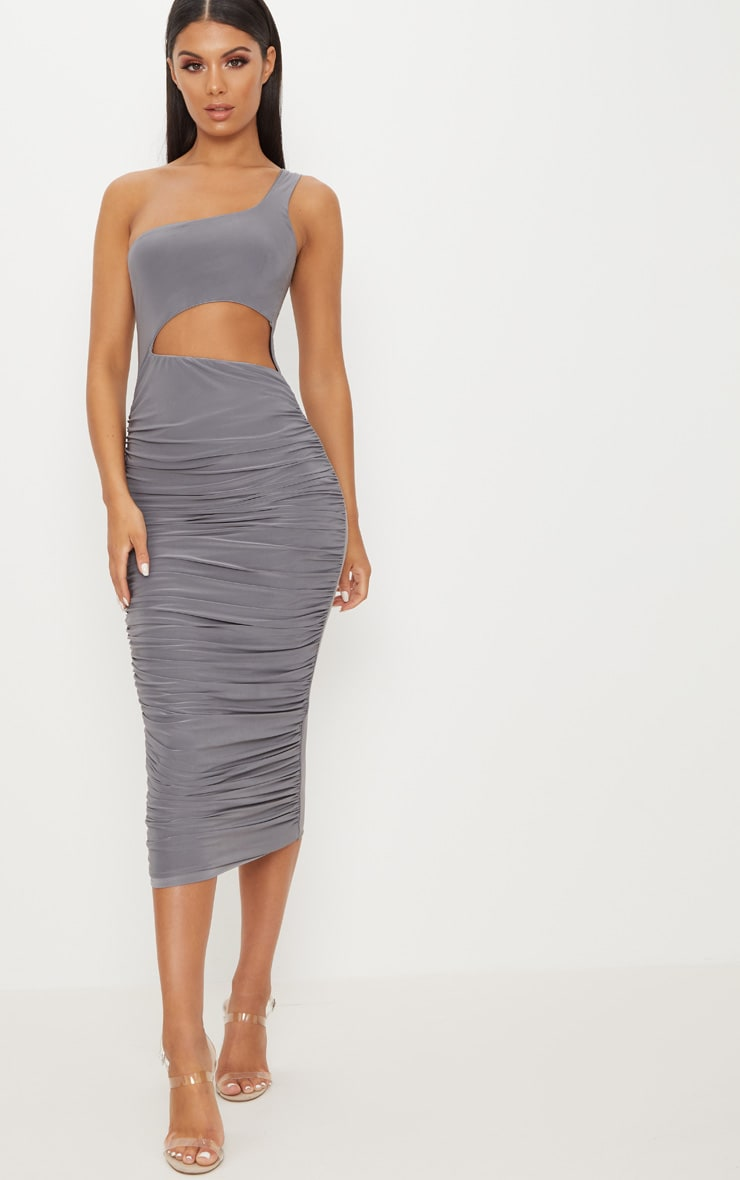 Charcoal Grey Double Layer Slinky One Shoulder Cut Out Detail Ruched Midaxi Dress