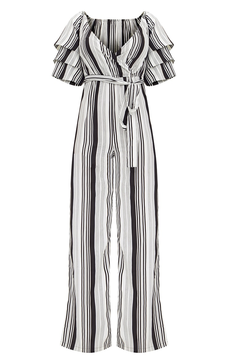 White Striped Frill Sleeve Jumpsuit 3