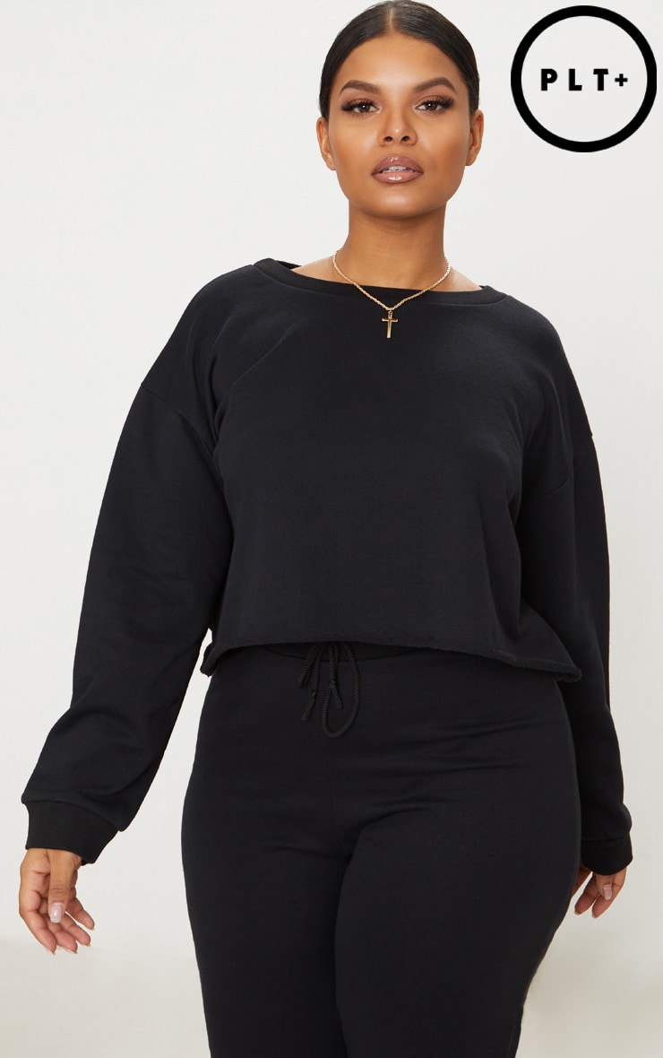 Plus Black Extreme Crop Sweater 1