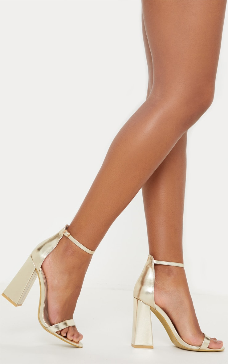 Gold High Block Heel Strappy Sandal 1