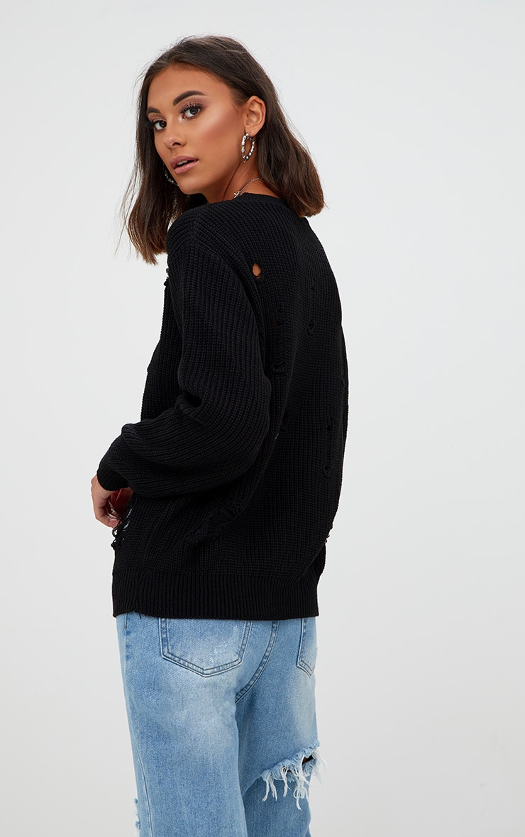 Black Distressed Knitted Jumper 2