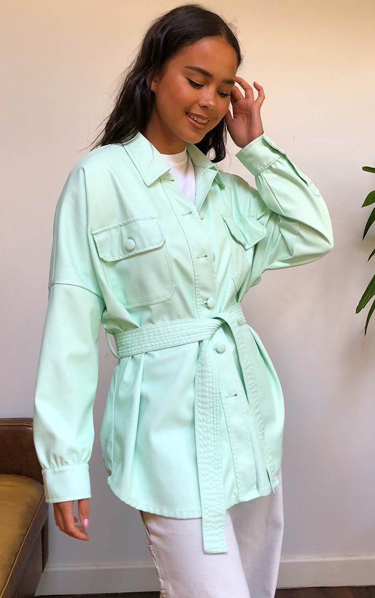 Mint Pu Long Line Dipped Hem Belted Shacket 1
