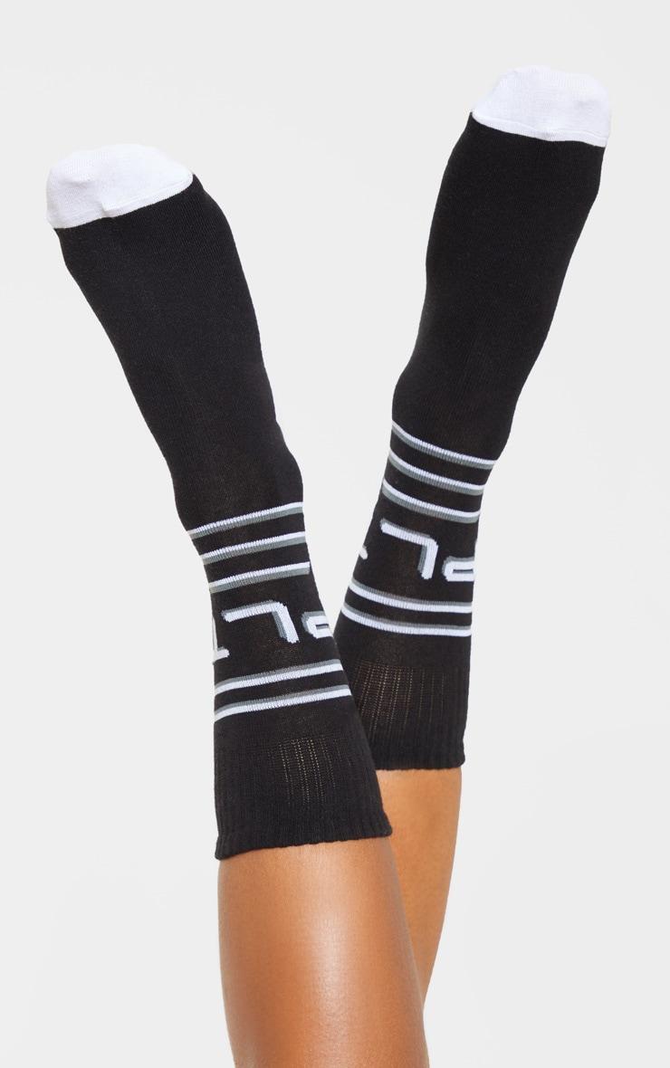 PRETTYLITTLETHING Black Line Print Socks 1