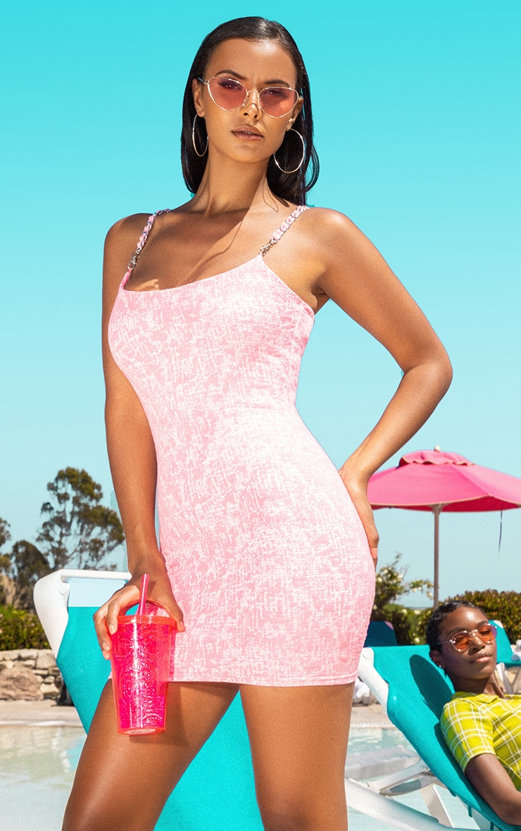Pastel Pink Boucle Bodycon Dress 1