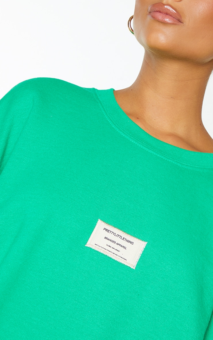 PRETTYLITTLETHING Bright Green Branded Apparel Woven Badge Sweatshirt 4