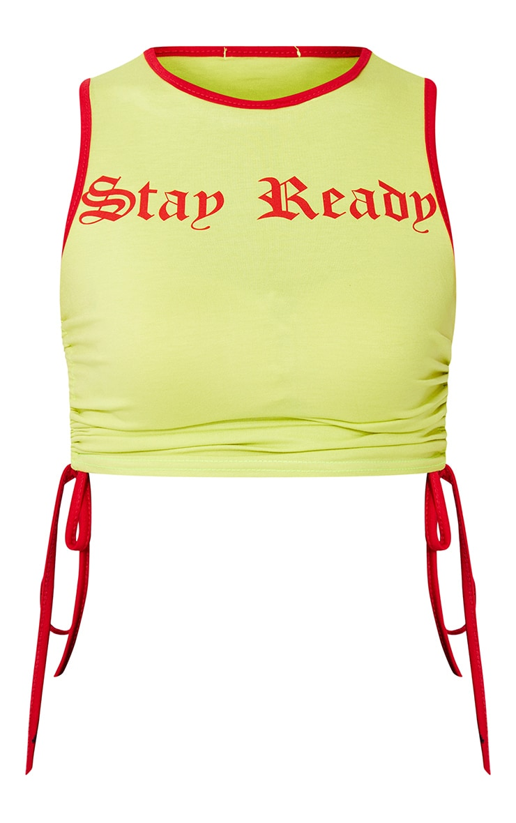 Yellow Stay Ready Ruched Side Crop Top 5
