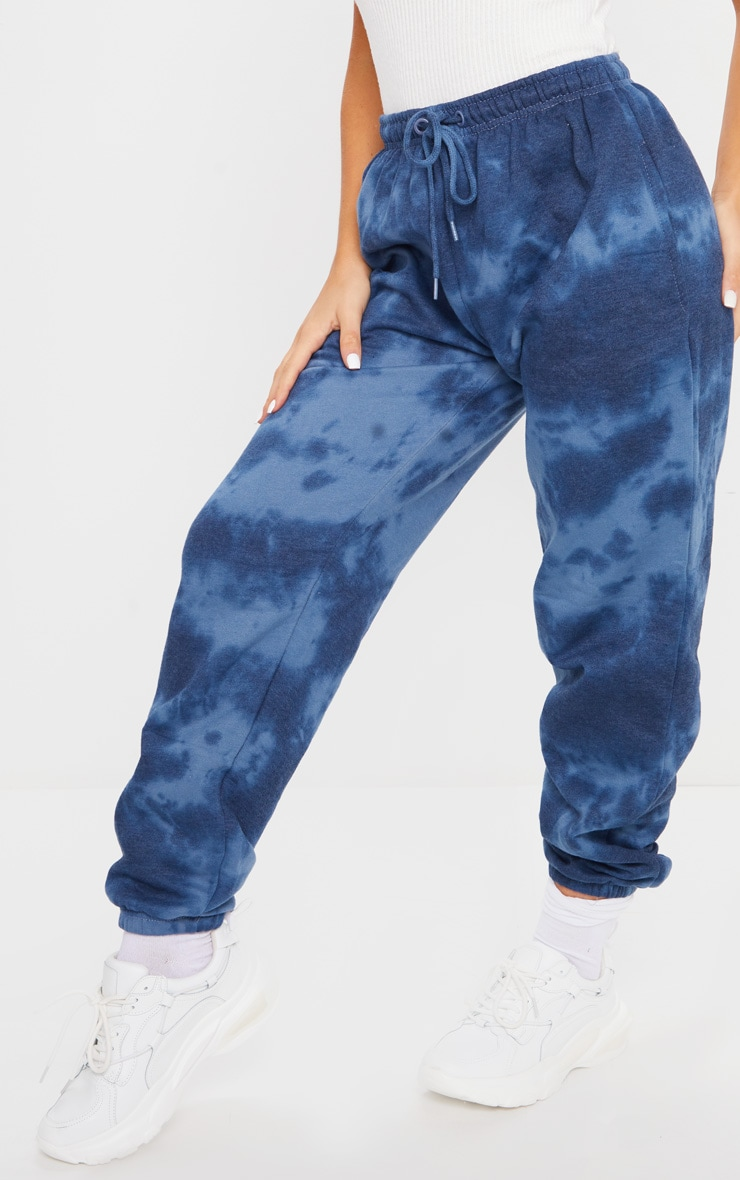 PRETTYLITTLETHING Navy Tie Dye Embroidered Joggers 2