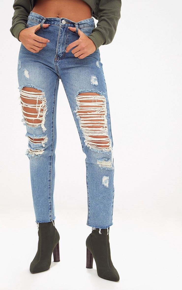 Mid Wash Frayed Rip Straight Leg Jean 2