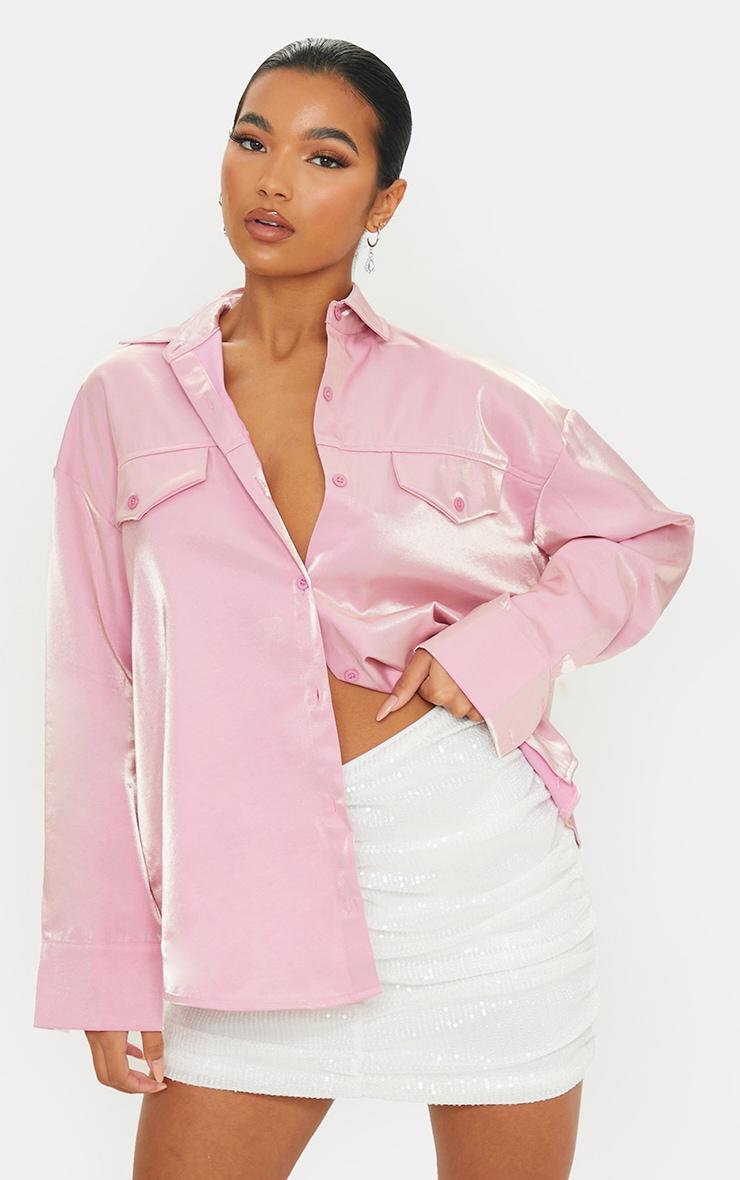 Pink Premium Woven Metallic Oversized Shirt 1