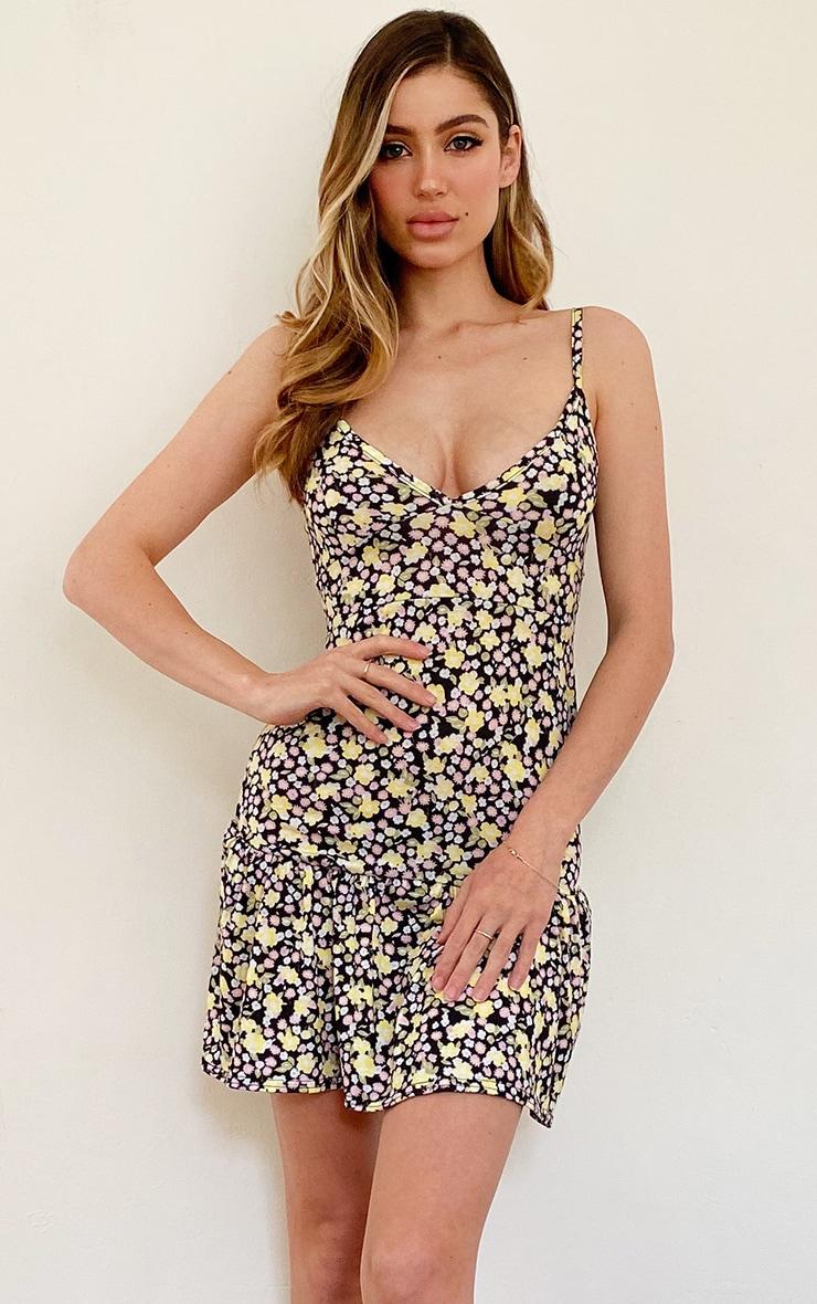 Multi Floral Print Frill Hem Strappy Shift Dress 1
