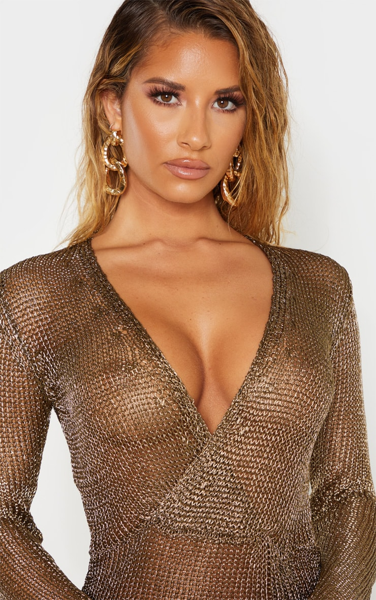 Bronze Metallic Knitted Wrap Front Dress 5
