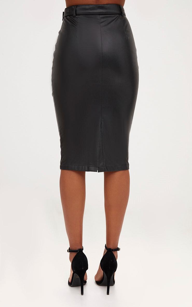 jupe midi noire imitation cuir avec ceinture jupes. Black Bedroom Furniture Sets. Home Design Ideas