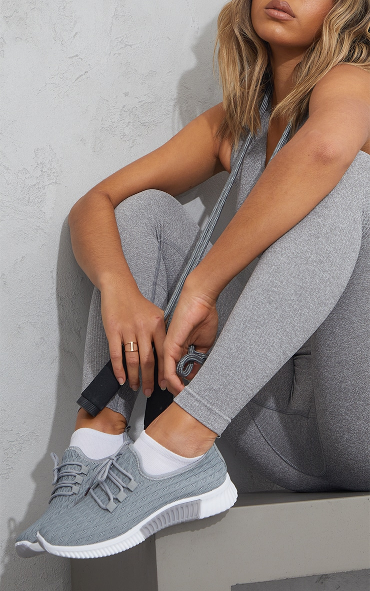 Grey Knitted Lace Up Sports Sneakers 1