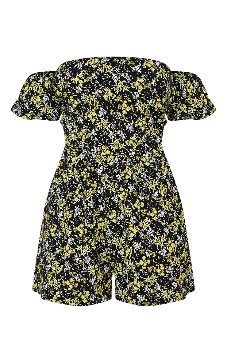 Black Ditsy Floral Tie Back Puff Bardot Playsuit 5