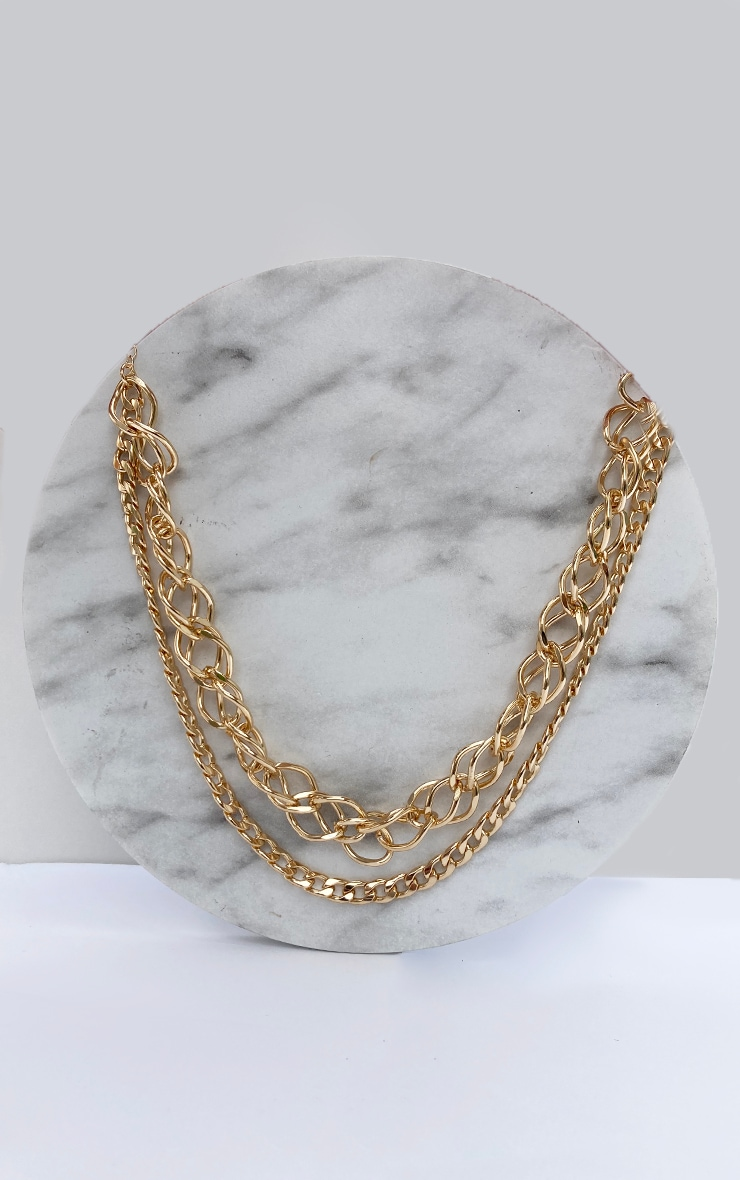 Gold Mixed Assorted Two Layering Chain Necklace 3