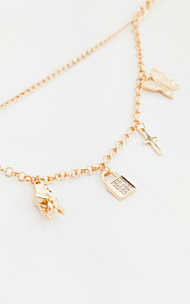 Gold Chain Multi Layering Assorted Pendant Necklace 3