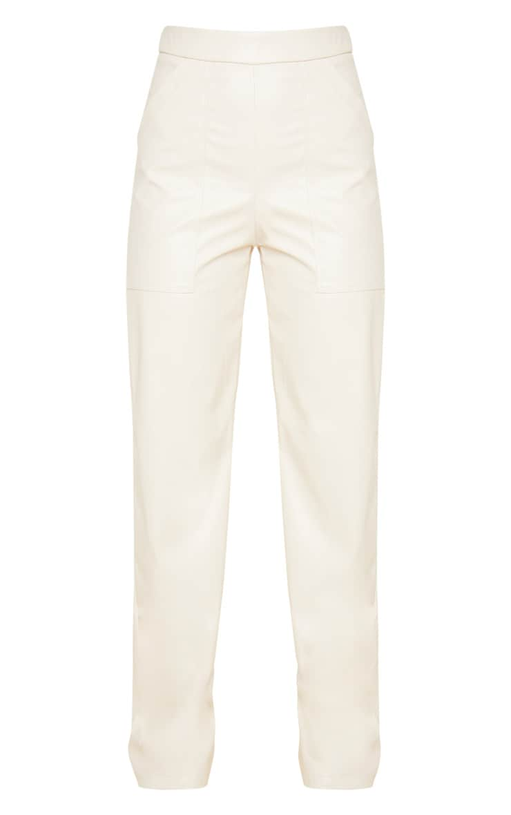 Cream Pocket Detail Faux Leather Straight Leg Trouser 3