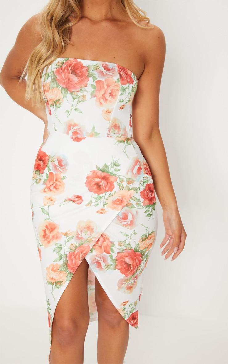 White Floral Bandeau Wrap Midi Dress 5