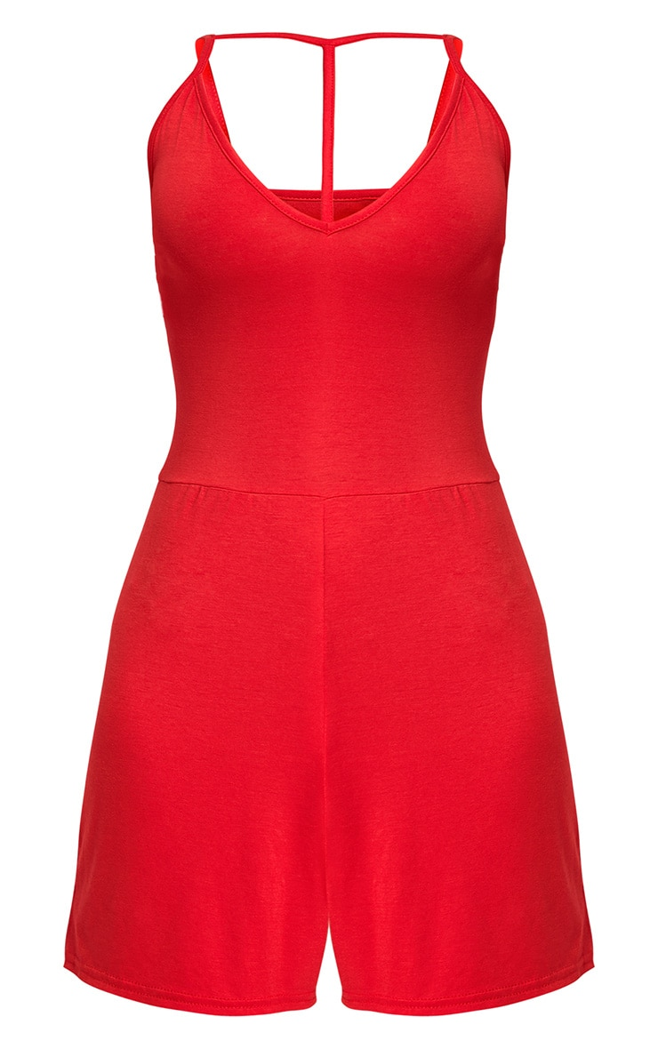 Red Jersey Harness Playsuit  3