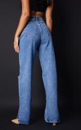 Petite Mid Blue Wash Ripped Split Hem Jeans 3