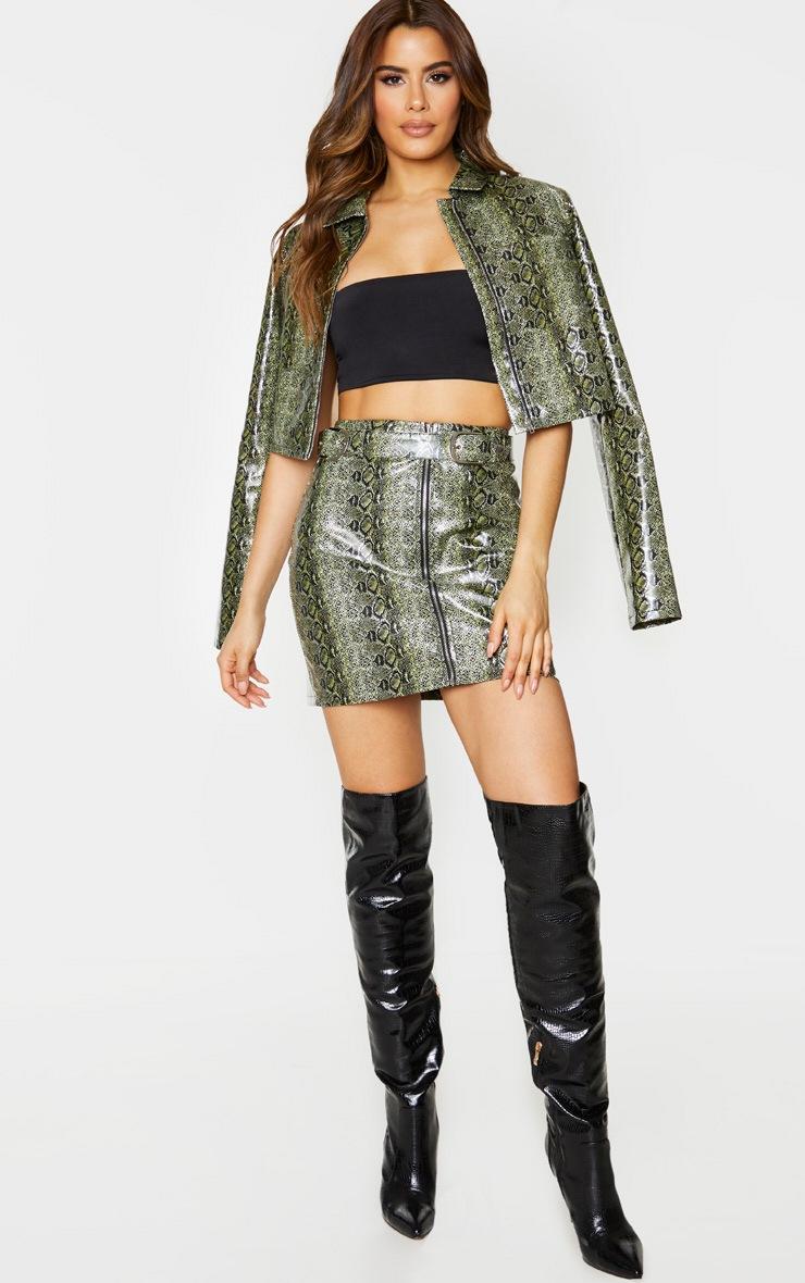 Tall Green PU Buckle Detail Snake Print Mini Skirt 5