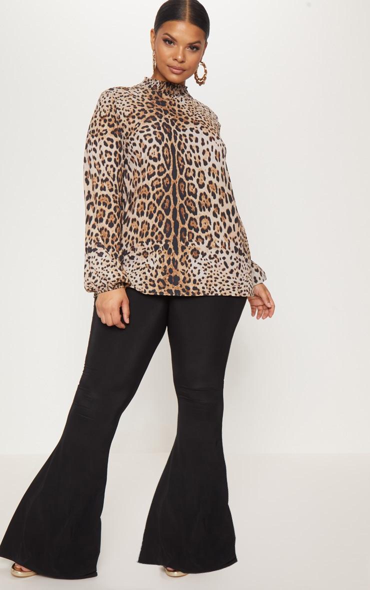 Plus Tan Shirred Neck Leopard Print Blouse 4