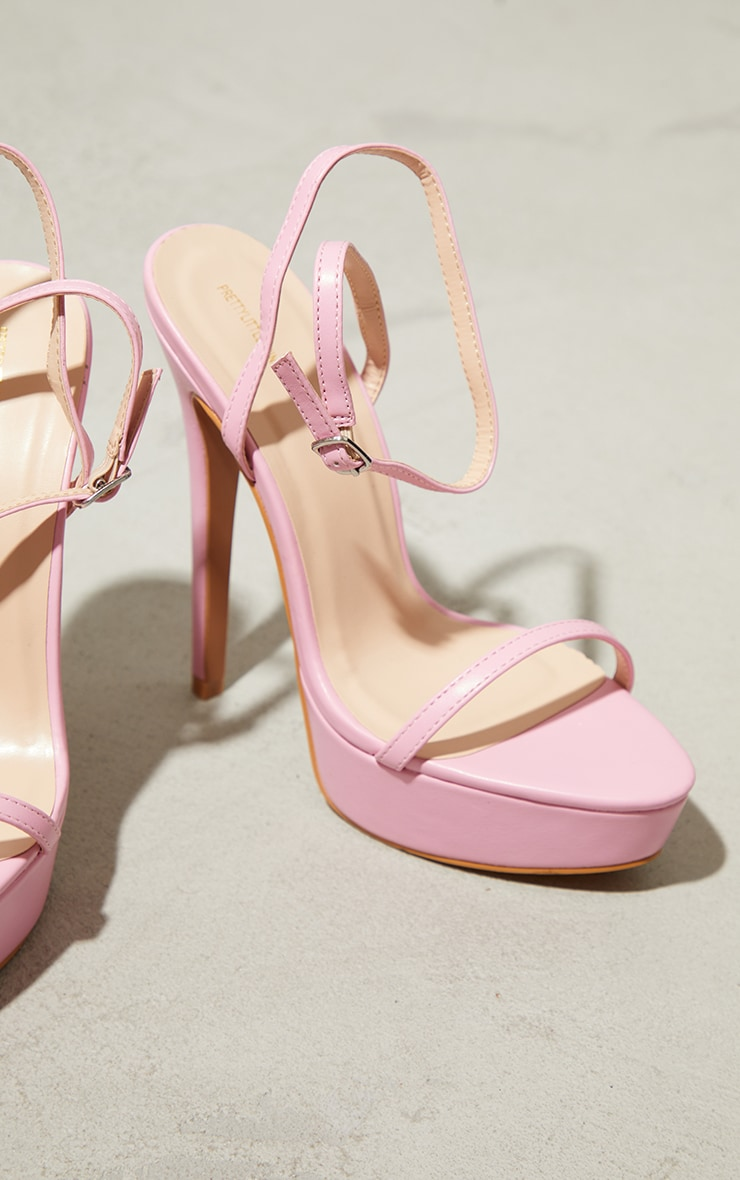 Pink PU Platform Strappy High Heels 3